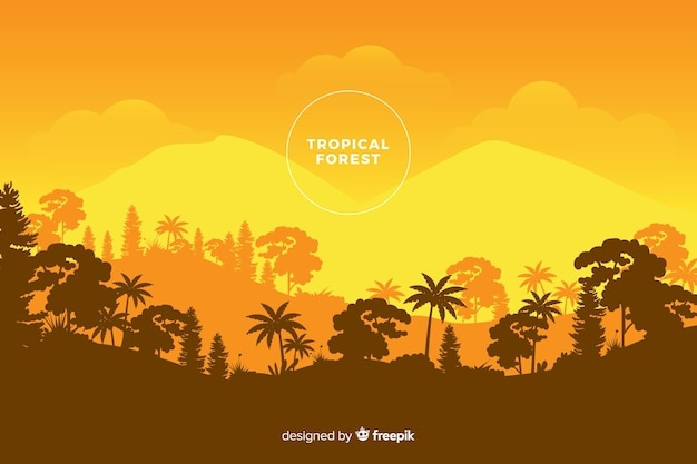 Panoramic view of beautiful tropical forest in orange shades Free Vector