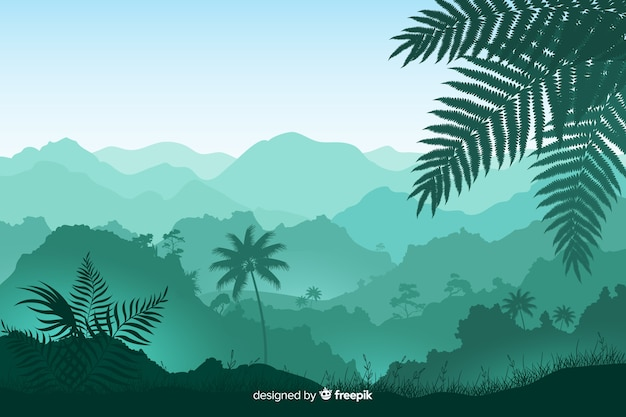 Panoramic view of foliage and tropical forest trees Free Vector