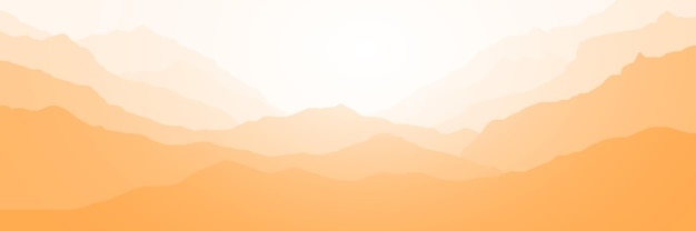 Панорамный вид на горный пейзаж в утреннем свете Premium векторы