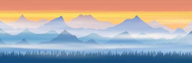 Панорамный вид на горные хребты в утреннем тумане Premium векторы