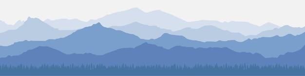 Панорамный вид на горный пейзаж в утренней дымке Premium векторы