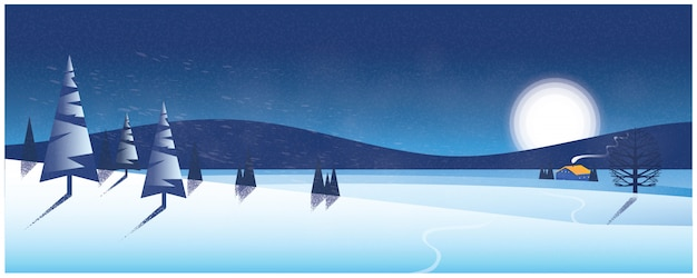Panoramic  of winter landscape, silhouette image of lonely house in snow Premium Vector