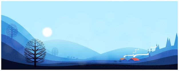 Panoramic  of winter landscape Premium Vector