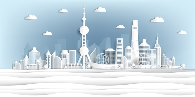 Panoramic of world famous landmarks paper cut style vector illustration Premium Vector