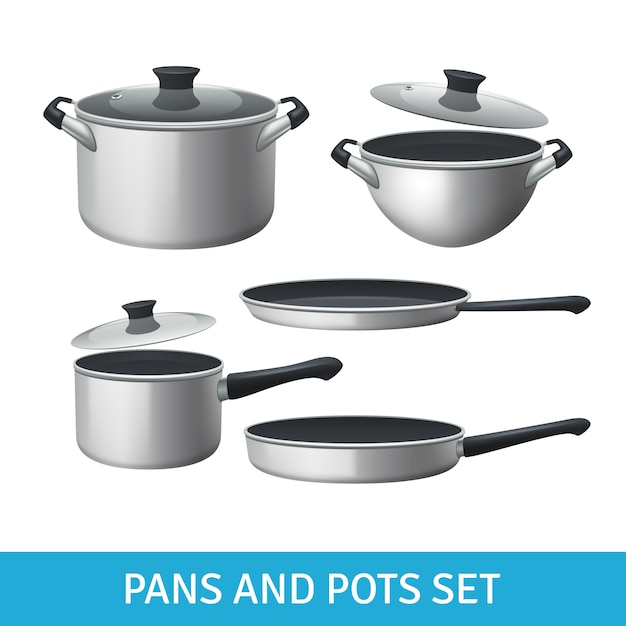 Pans and pots realistic set with frying pan saucepan and bowl Free Vector