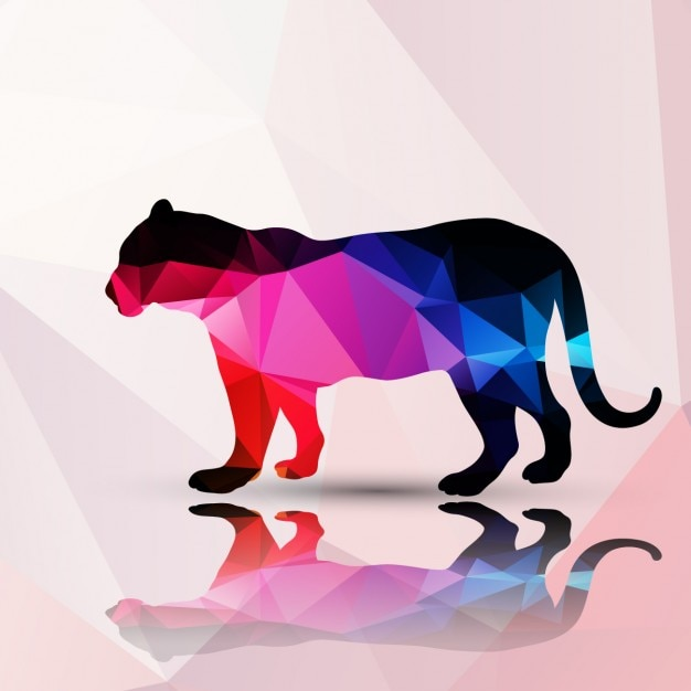 Panter made of polygons background Free Vector