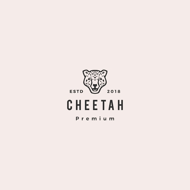 Panther cheetah head logo vector icon illustration Premium Vector