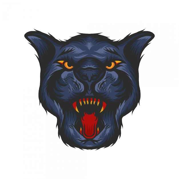 Panther head with hand drawn illustration Premium Vector