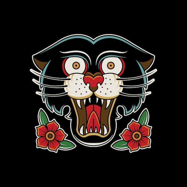 Panther roses vintage tattoo retro Premium Vector