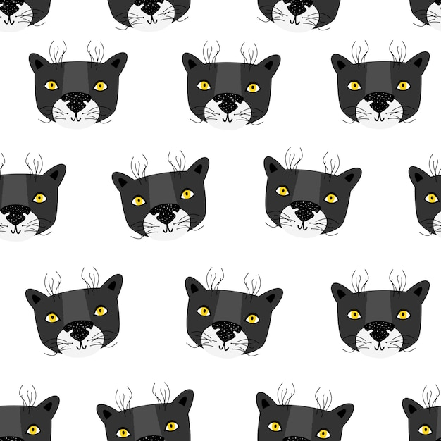 Panther. vector seamless pattern scandinavian style Premium Vector
