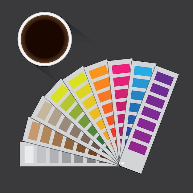 Pantone illustration with a gray background and a coffee cup. Premium Vector