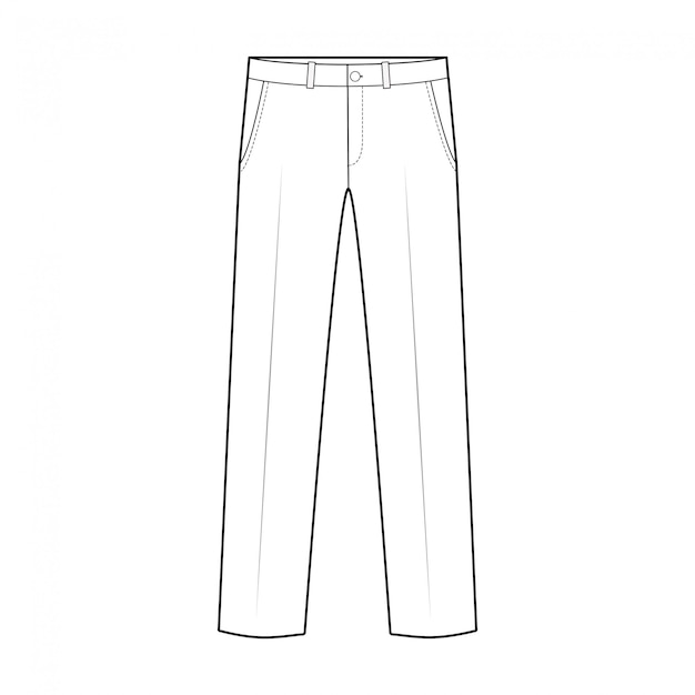 Pants fashion flat technical drawing template Premium Vector