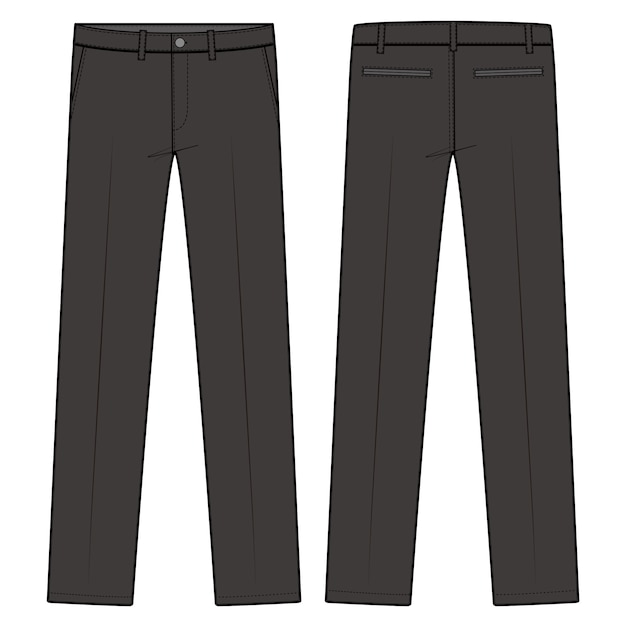 Pants formal trousers fashion flat sketch template Premium Vector