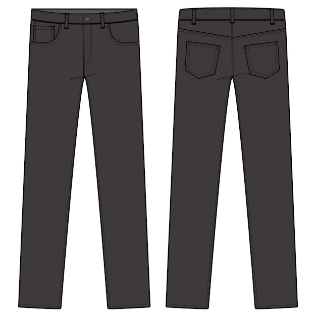 Pants jeansファッションフラットスケッチテンプレート Premiumベクター