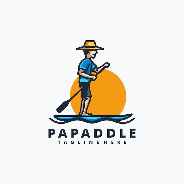 Papa paddle design concept illustration vector template Premium Vector