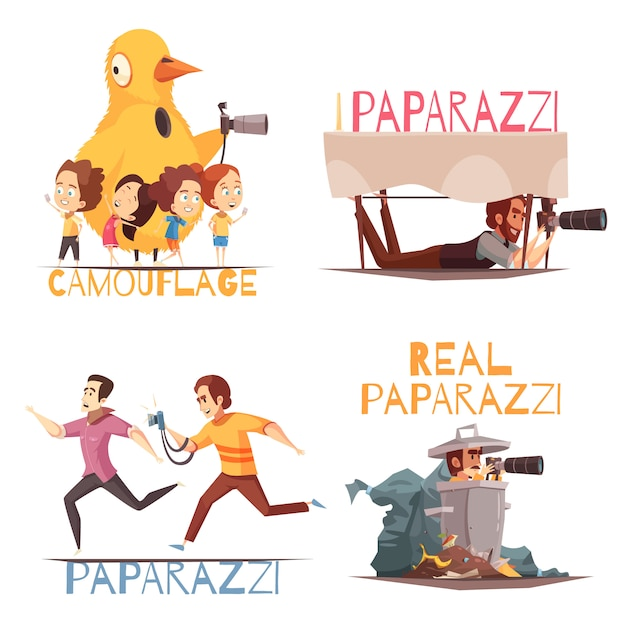 Paparazzi characters concept Free Vector