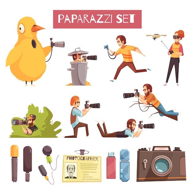 Paparazzi photographer cartoon icons set Free Vector
