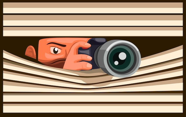 Paparazzi take picture using dslr camera while hidding, man capture photo behind curtain window in cartoon illustration Premium Vector
