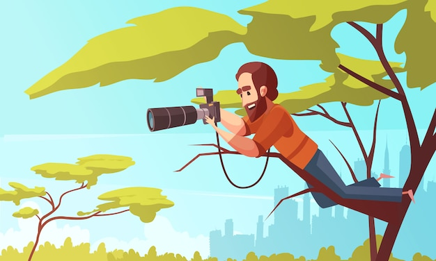 Paparazzo at work composition Free Vector