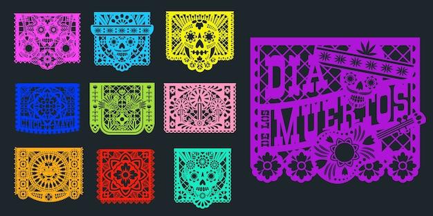 Papel Picado, 멕시코 종이 및 Pecked 깃발,. 멕시코 축제 장식 Papel Picado 죽은 Dia De Muertos의 날을위한 전통적인 디자인, 솜브레로의 종이 컷 해골 및 꽃 장식 프리미엄 벡터