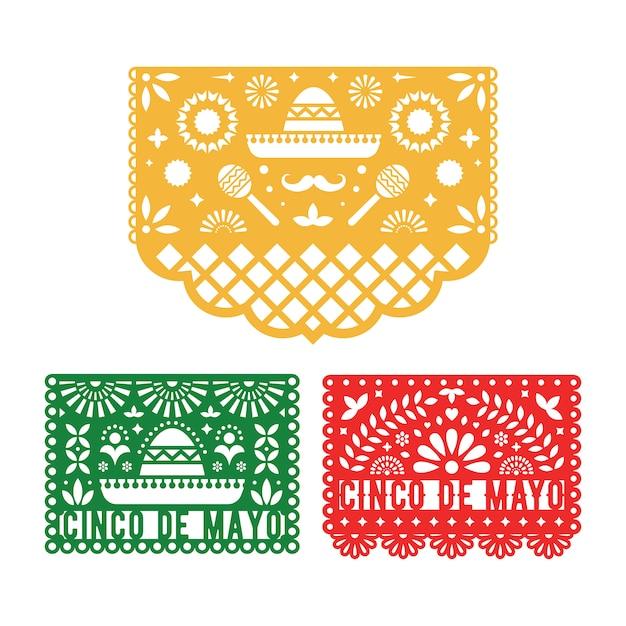Papel picado set, mexican paper decorations for cinco de mayo. Premium Vector