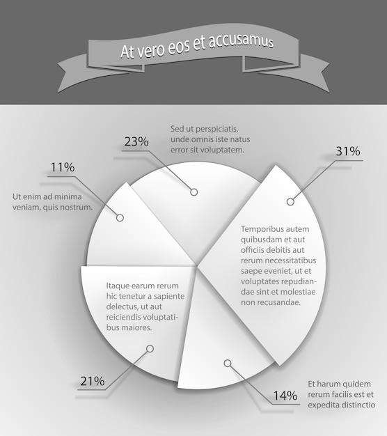Бумага 3d бизнес круговая диаграмма векторные иллюстрации Premium векторы