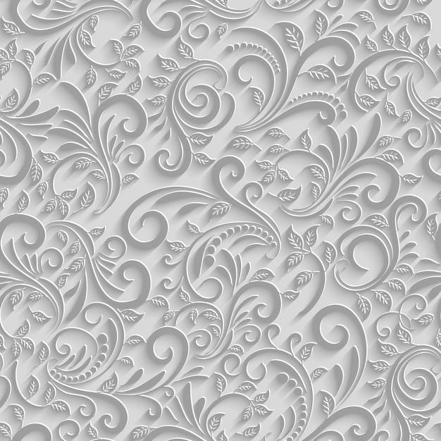 종이 3d 꽃 완벽 한 패턴, 벡터 종이 배경 무료 벡터