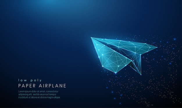 Paper air plane. low poly style design. Premium Vector