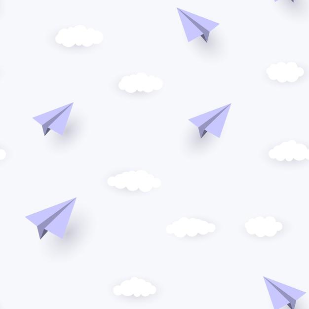 Бумажный самолетик и облака бесшовный фон фон Premium векторы