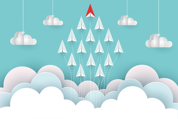 Paper airplane are fly up to the sky between cloud natural landscape go to target. illustration vector cartoon Premium Vector