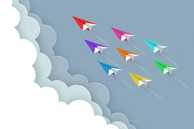 Paper airplane colorful fly up to the sky Premium Vector