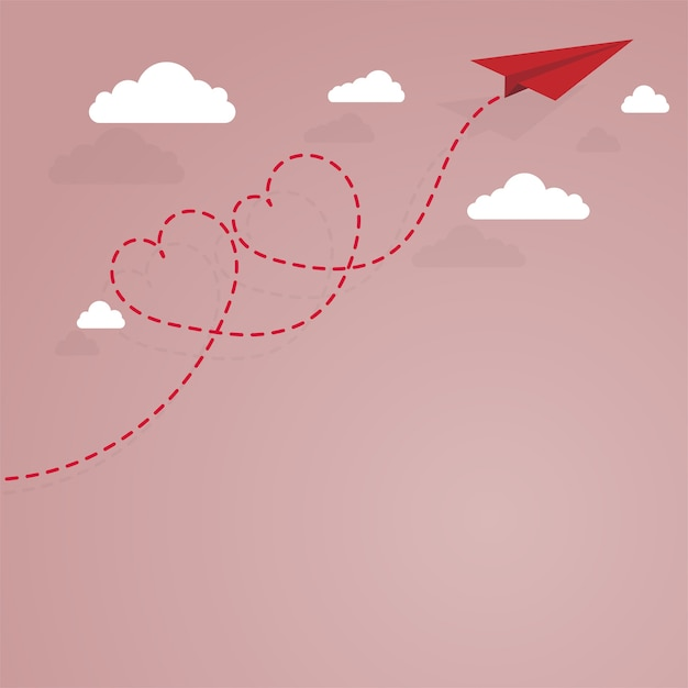 Paper airplane and dashed lined heart Premium Vector