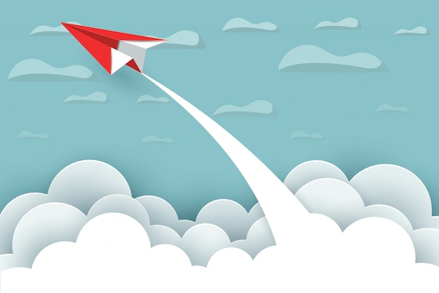 Paper airplane fly up to the sky between cloud natural landscape go to target. illustration vector cartoon Premium Vector
