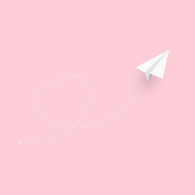 Бумажный самолетик сердце фон. любовь витает в воздухе. Premium векторы