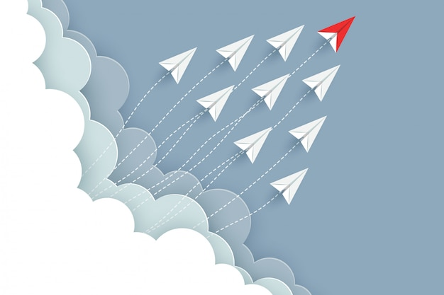 Paper airplane red and white are fly up to the sky. creative idea. illustration vector cartoon Premium Vector
