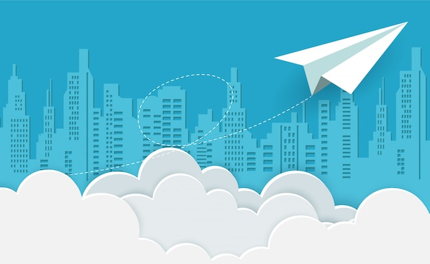 Paper airplane white flying on sky between cloud to the target. creative idea. Premium Vector