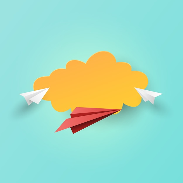 Paper airplanes flying on clouds background. Premium Vector