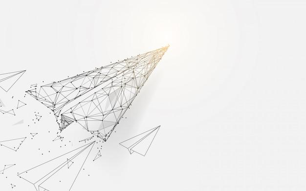 선과 입자 스타일 디자인에서 비행하는 종이 비행기 프리미엄 벡터