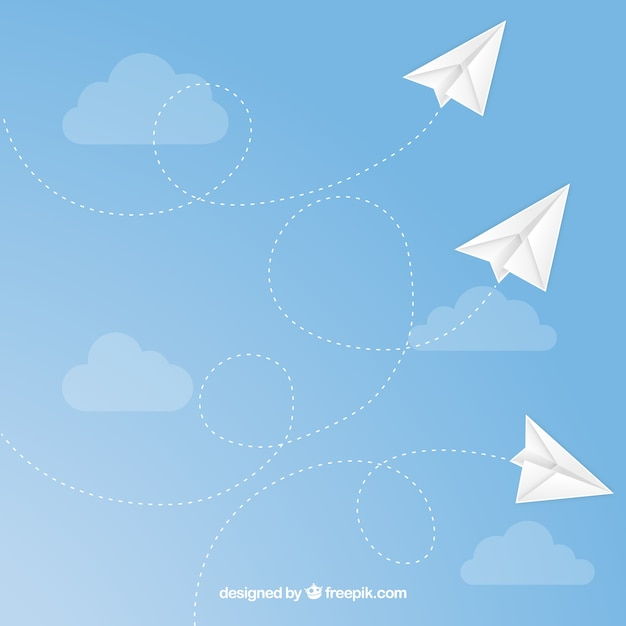Paper airplanes flying seamless pattern Premium Vector
