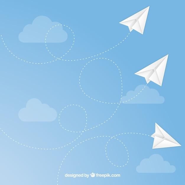 Aeroplani di carta volanti senza soluzione di modello Vettore gratuito
