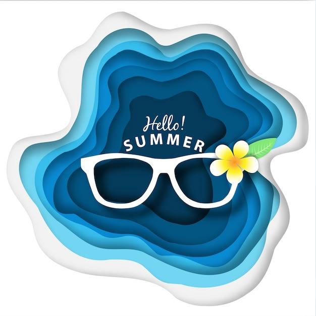 Paper art abstract summer background Premium Vector
