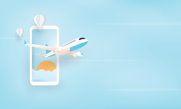 Paper art of airplane flying from mobile phone, holiday concept Premium Vector