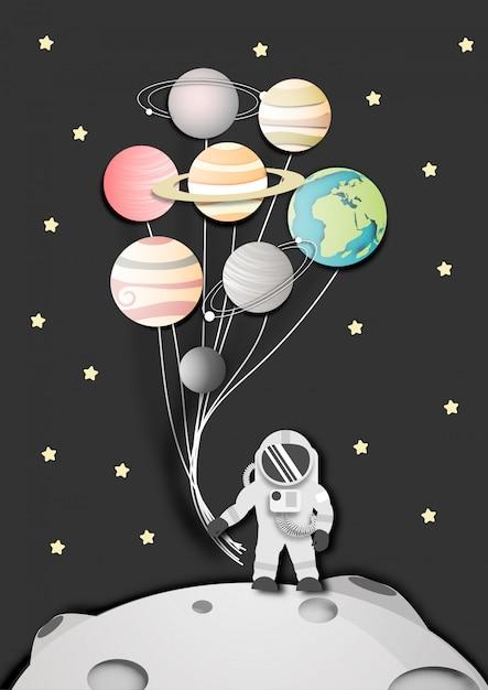 Paper art of astronaut on the moon in space Premium Vector