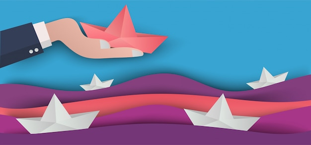 Paper art business concept in cutting art Premium Vector