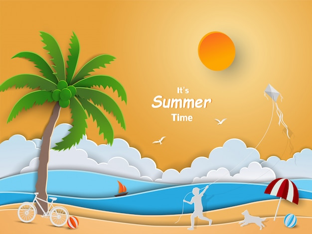 Paper art design with summer time letters Premium Vector