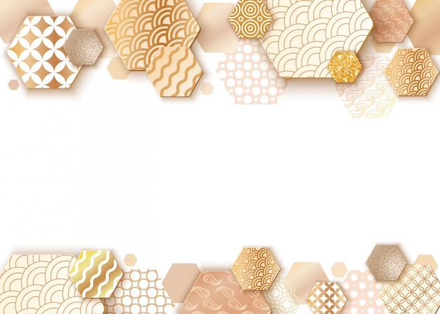 Paper art frame with japan wave pattern Premium Vector