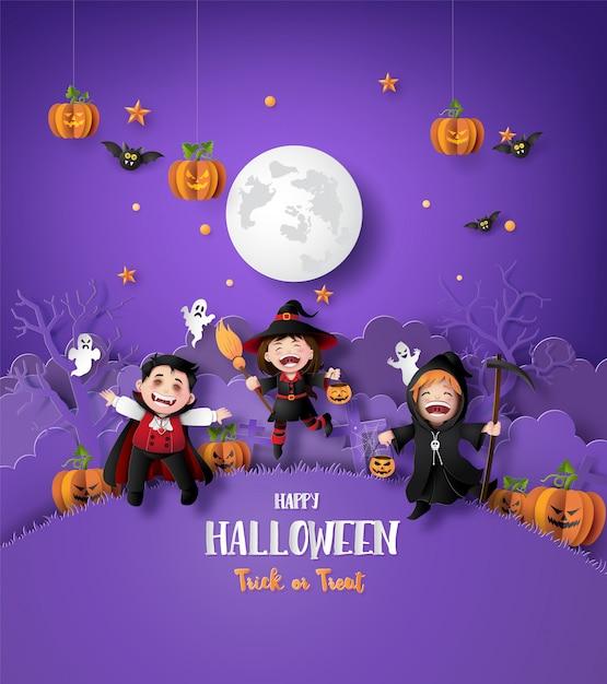 Paper art of happy halloween Premium Vector