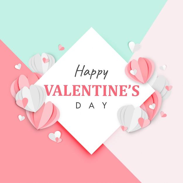 happy valentines day origami heart balloons gift sky sun vector ... | 626x626