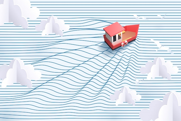 Paper art of red boat and striped sea, origami and travel concept Premium Vector