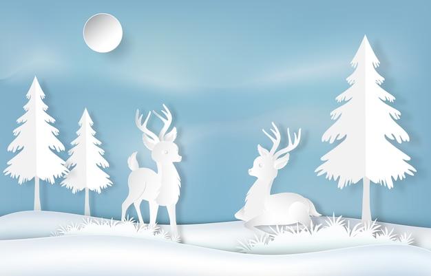 Paper art of reindeer Premium Vector